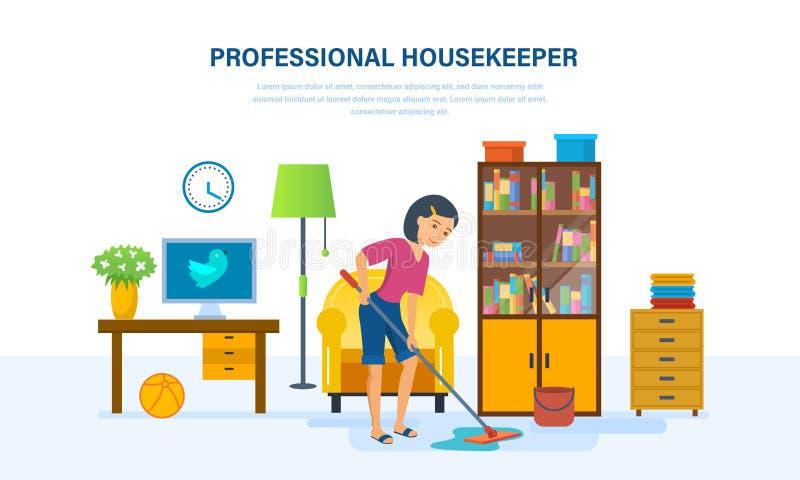 管家在屋子里洗涤与一个拖把的地板 库存例证