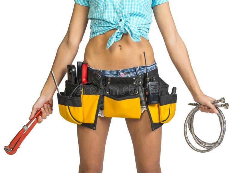 水管工简而言之,衬衣,有工具的工具传送带 免版税图库摄影