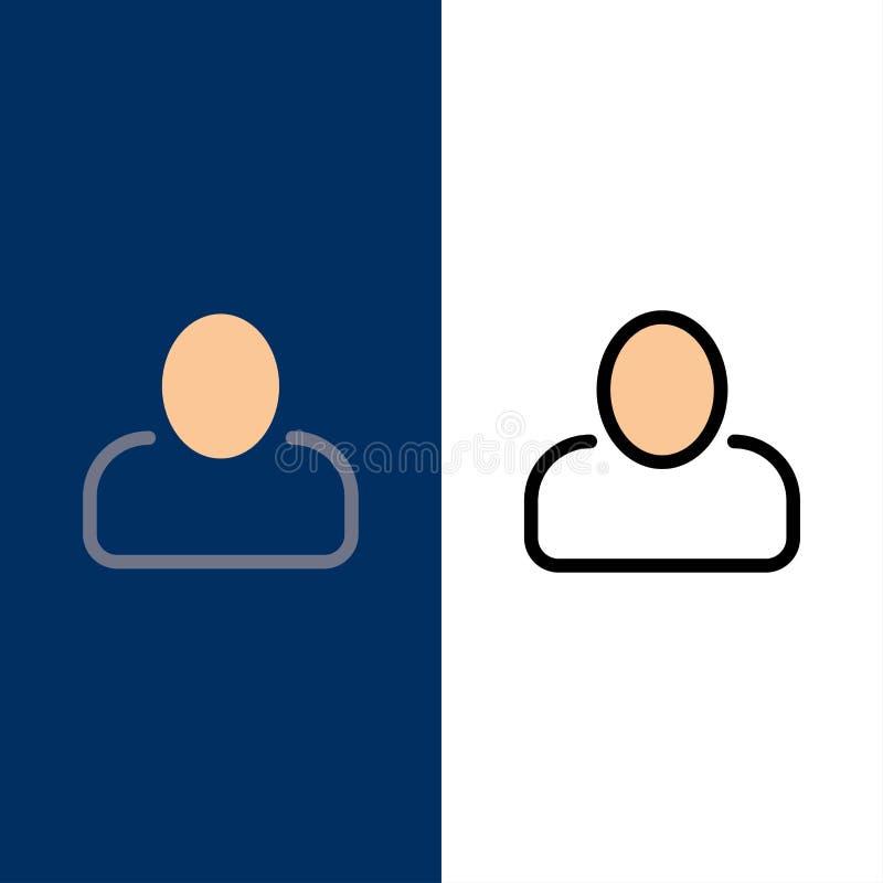 管理员、人员、用户图标 平整和线条填充图标设置矢量蓝背景 库存例证