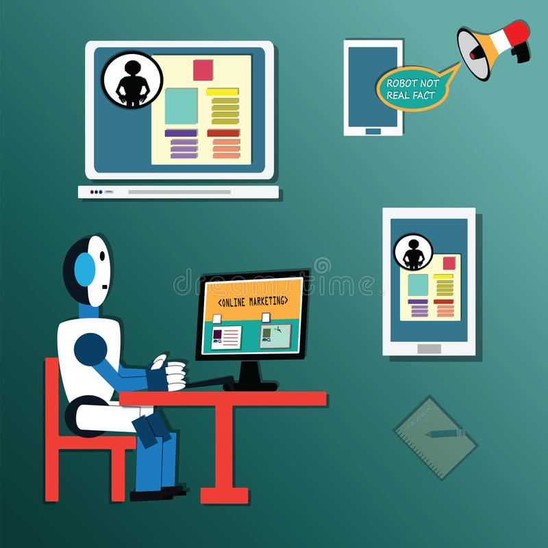 管理员的网页为回顾产品,技术概念-传染媒介使用了人工智能机器人 向量例证