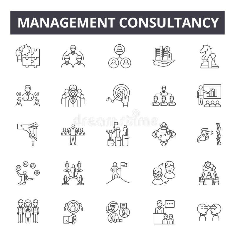 管理顾问线象,标志,传染媒介集合,概述例证概念 库存例证