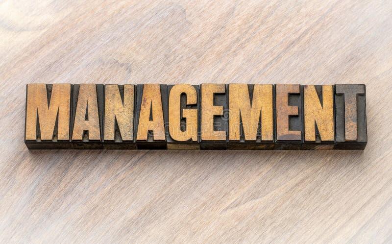 管理-在木类型的词asbtract 免版税库存图片