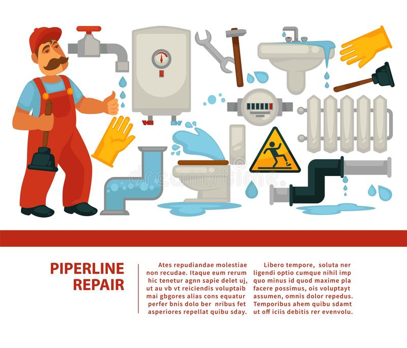 管道修理水管工服务和配管或者用管道输送横幅 皇族释放例证