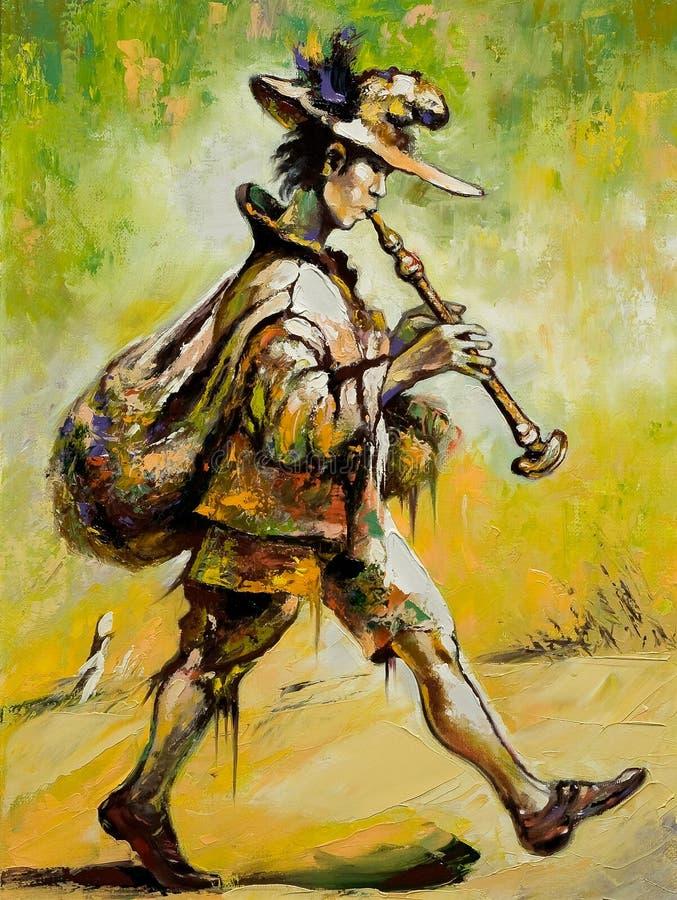 管道演奏抒情诗人漫步 向量例证