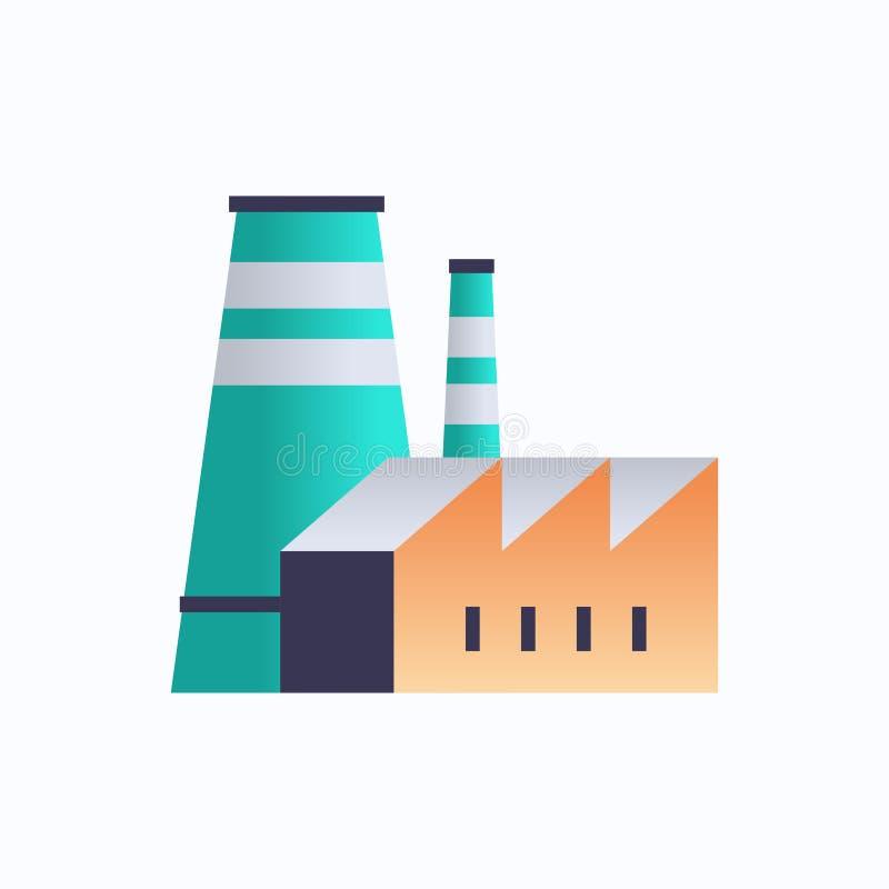 管道烟囱电站环境与能源元素油工业工厂建筑图标工业厂 向量例证