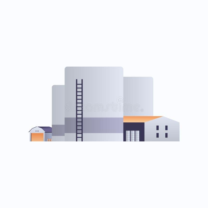 管道烟囱电站环境与能源元素油工业工厂建筑图标工业厂 库存例证
