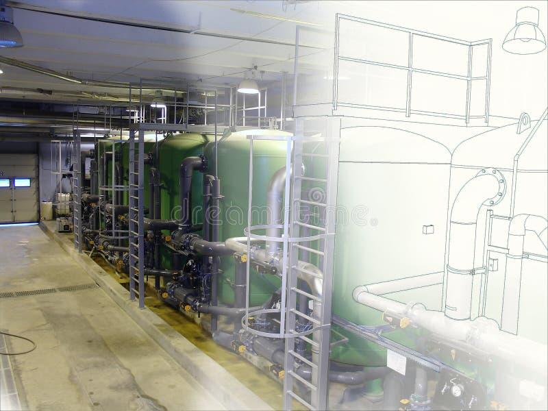 管道现代工业力量pla计算机cad设计  免版税库存图片