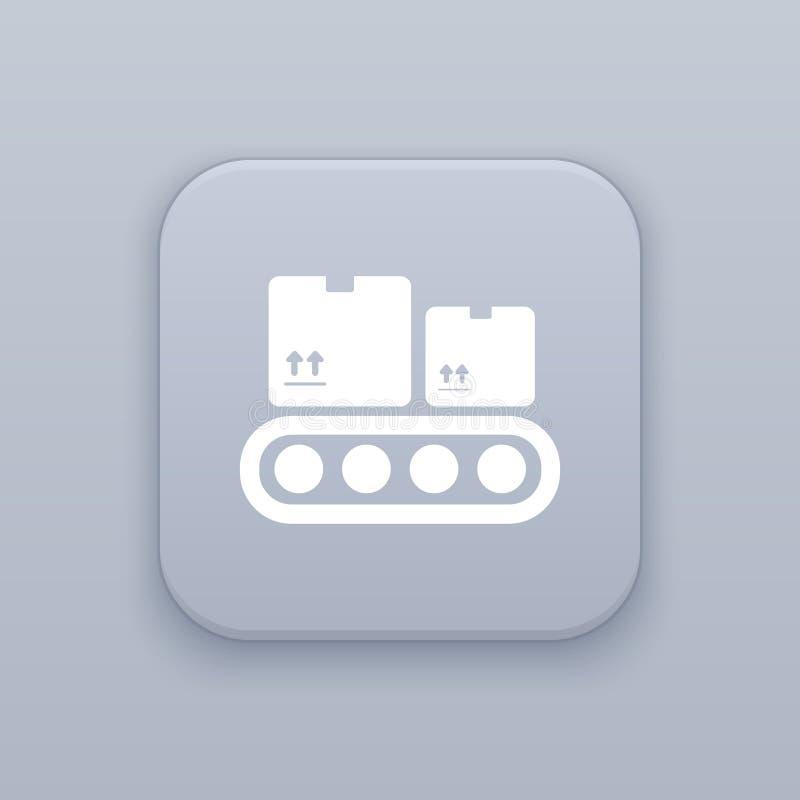 管道,传送带,有白色象的灰色传染媒介按钮 向量例证