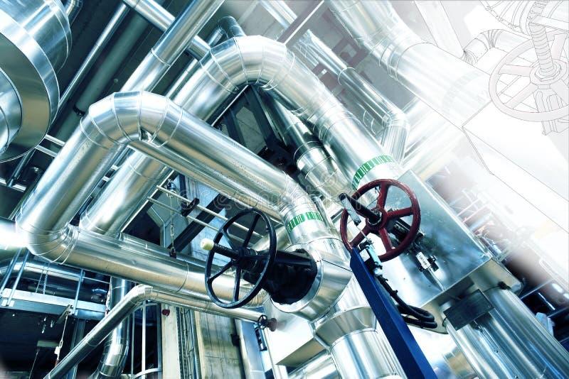 管道系统设计剪影与工业设备照片的 库存图片