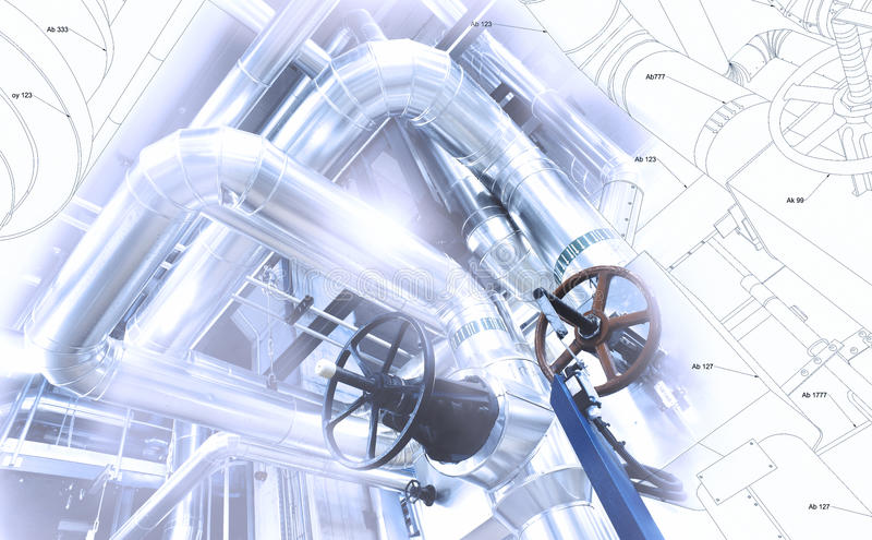 管道系统设计剪影混合了对工业设备照片 免版税库存图片