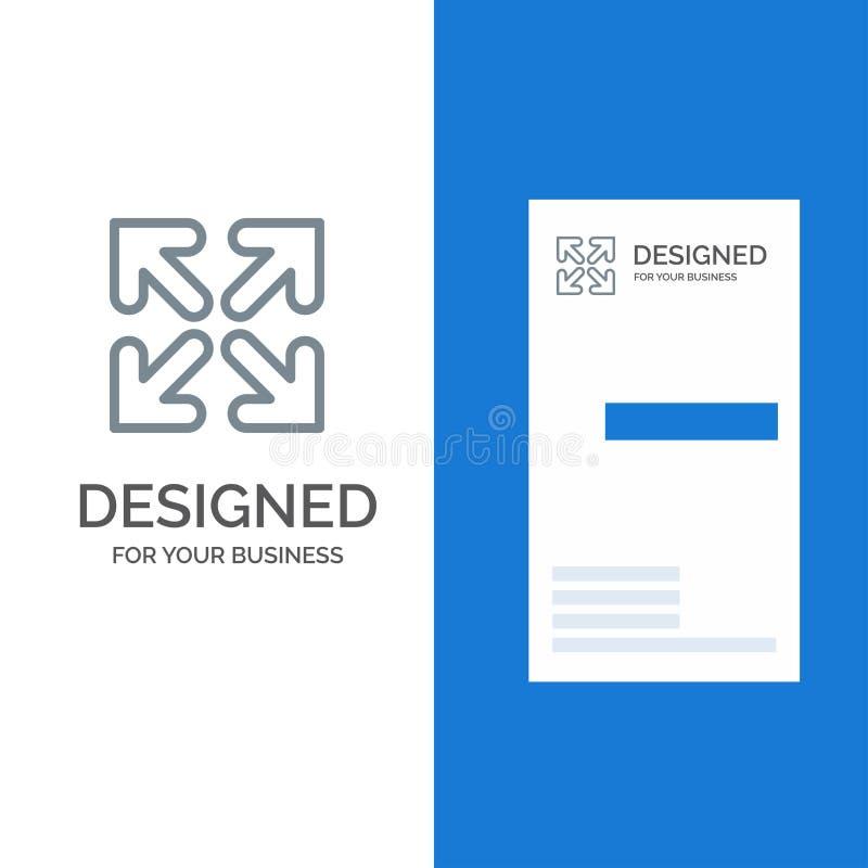 箭头、方向、移动灰色徽标设计和名片模板 向量例证