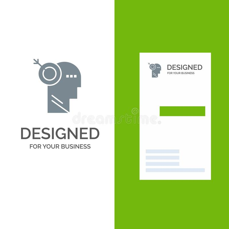 箭头、焦点、精确度、目标灰色商标设计和名片模板 皇族释放例证