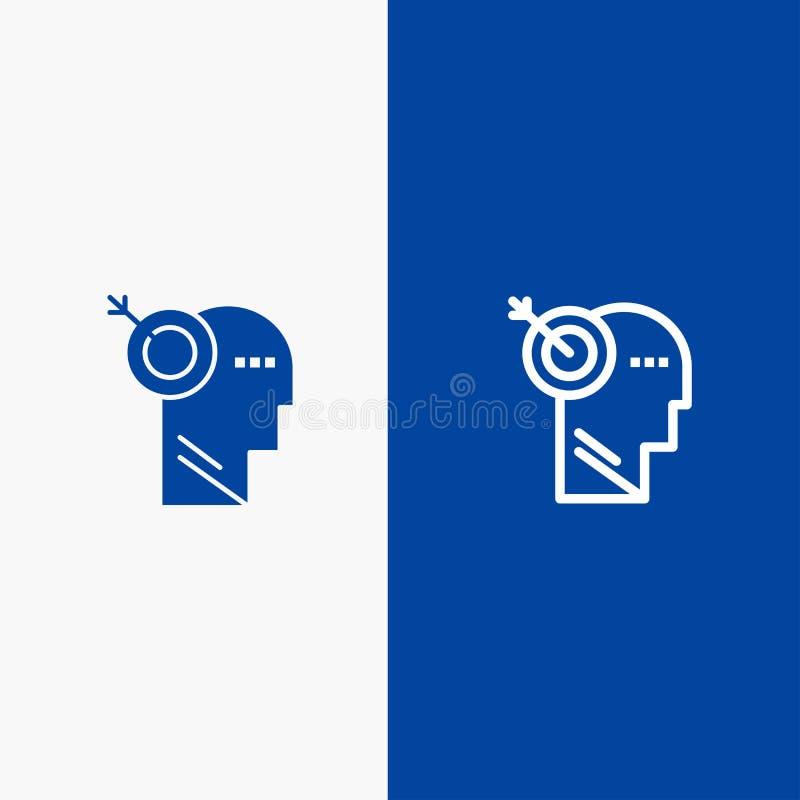 箭头、焦点、精确度、靶子设置线和纵的沟纹坚实象蓝色旗和纵的沟纹坚实象蓝色横幅 向量例证