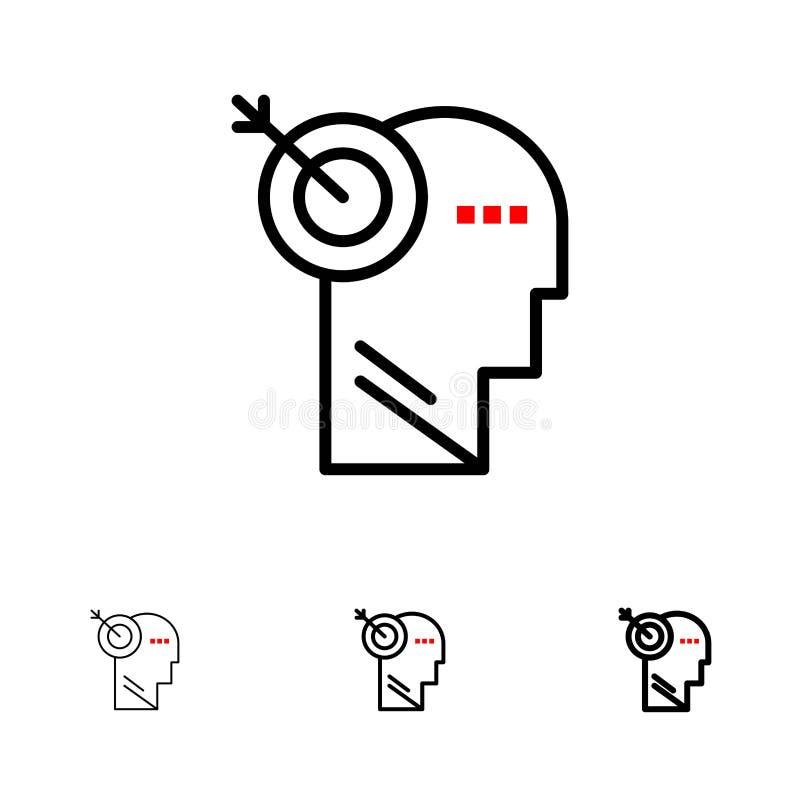 箭头、焦点、精确度,目标大胆和稀薄的黑线象集合 向量例证