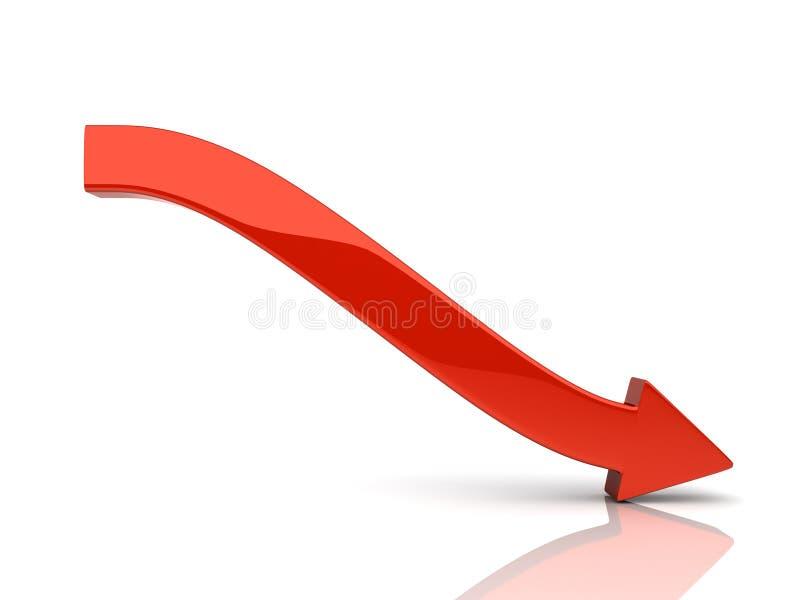 箭头下跌的红色 向量例证