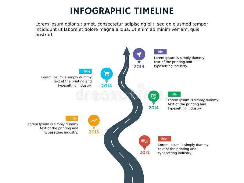 箭头与四透镜的模板和powerpoint的图图表和infographic 皇族释放例证