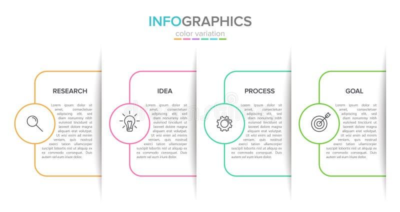 箭头与4连续步的业务模式的概念 四个五颜六色的长方形元素 时间安排设计为 库存例证