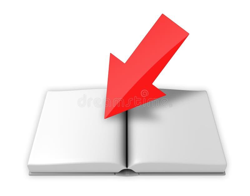 箭头书开放指向的红色 向量例证