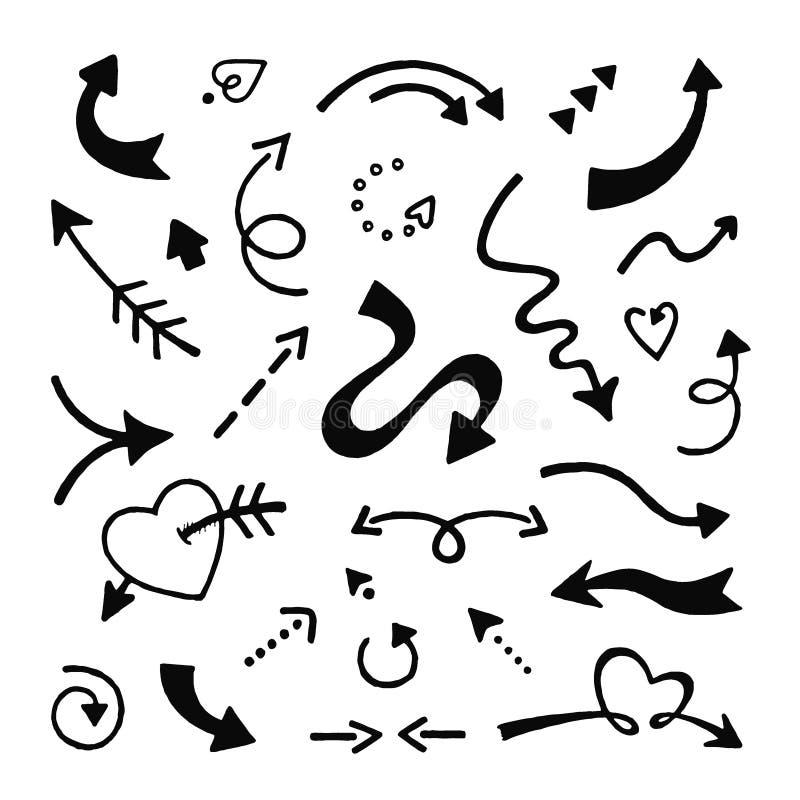 箭头乱画集 剪影箭头,在白色背景的手拉的曲线尖象 向量例证