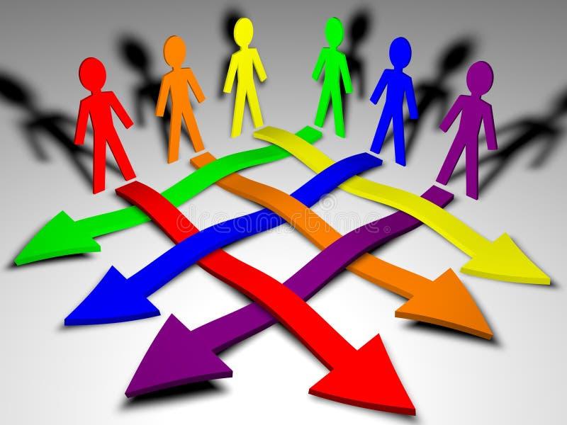 箭头企业字符小组配合 库存例证