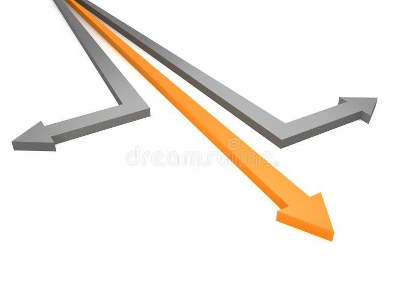 箭头企业灰色行动桔子成功 库存例证