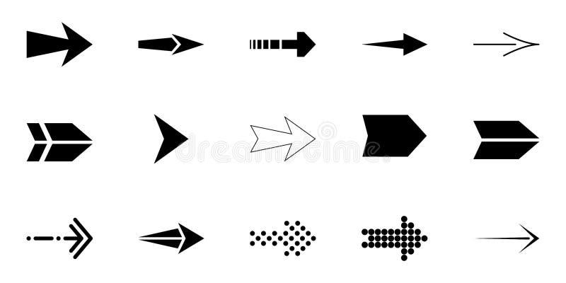 箭头传染媒介在白色背景,黑箭头的艺术品收藏 o 向量例证
