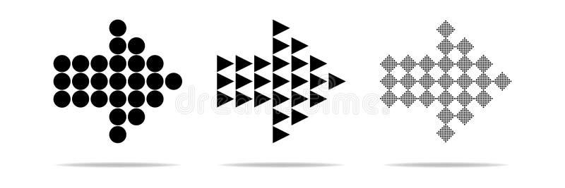箭头传染媒介汇集 黑套箭头象,后面,下个,早先节目象或网络设计 在a的现代简单的箭头 皇族释放例证