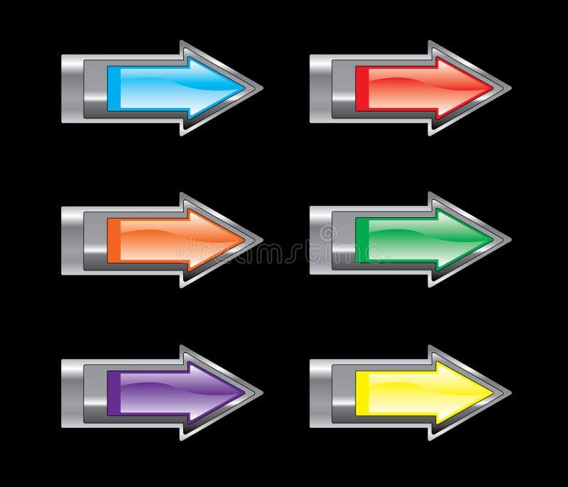 箭头光滑的图标集 库存例证