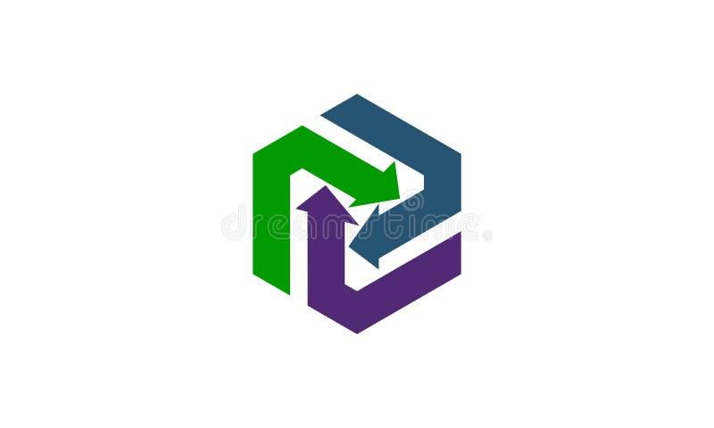箭头共同作用商标设计模板 库存例证