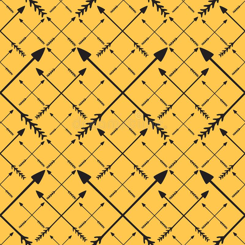 箭头可打印图案 现代潮人印花 Minimalistic arrows ornament on yellow background 库存例证
