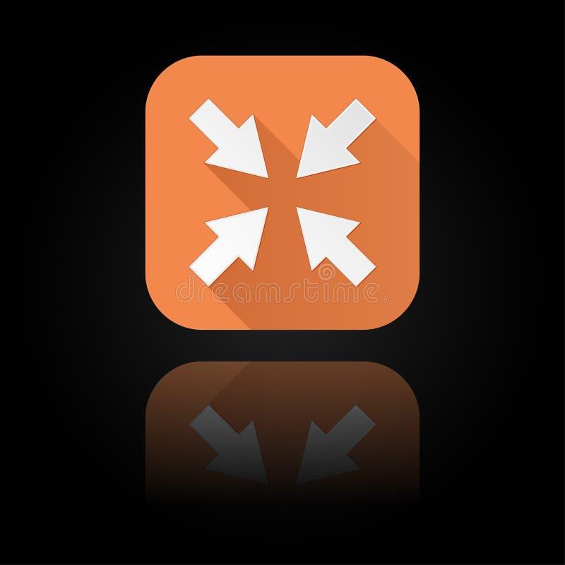 箭头图标 与反射的橙色标志在黑背景 中心标志 皇族释放例证