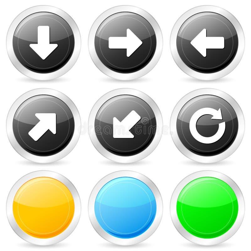 箭头圈子图标集 库存例证