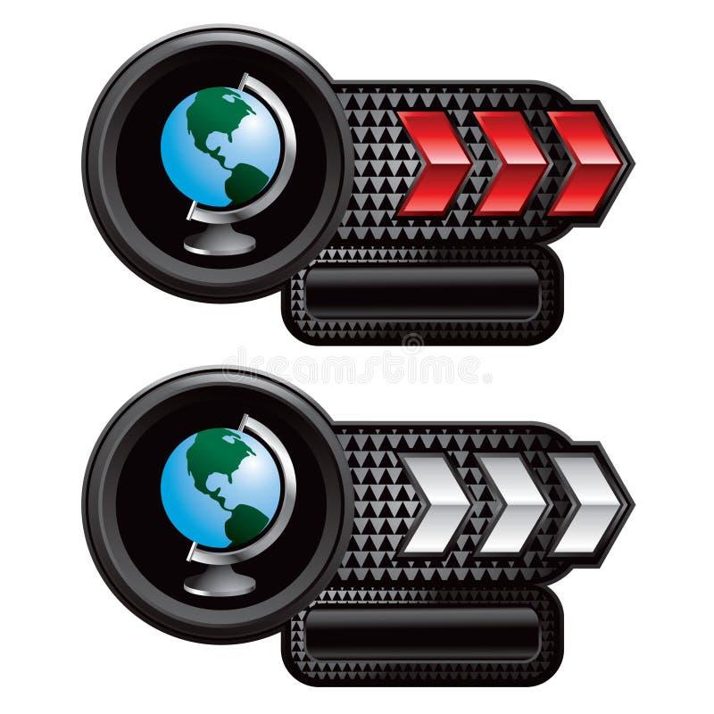箭头地球标识牌红色白色 向量例证
