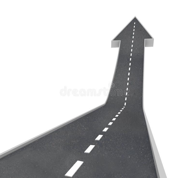 箭头增长上升的路向上 向量例证