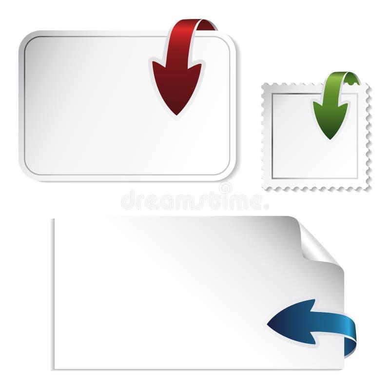 箭头定位贴纸导航白色 皇族释放例证