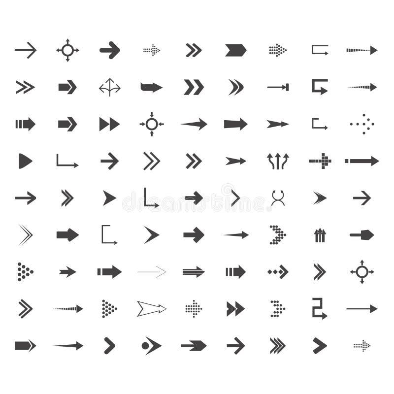箭头导航与典雅式样和黑色的汇集 被设置的81个持续地的象 库存例证