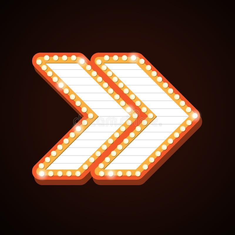 箭头广告牌减速火箭的光构筑剧院标志 库存例证