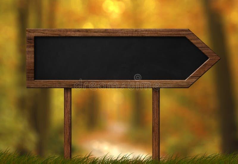 箭头形状的黑板标志秋天森林背景 库存例证