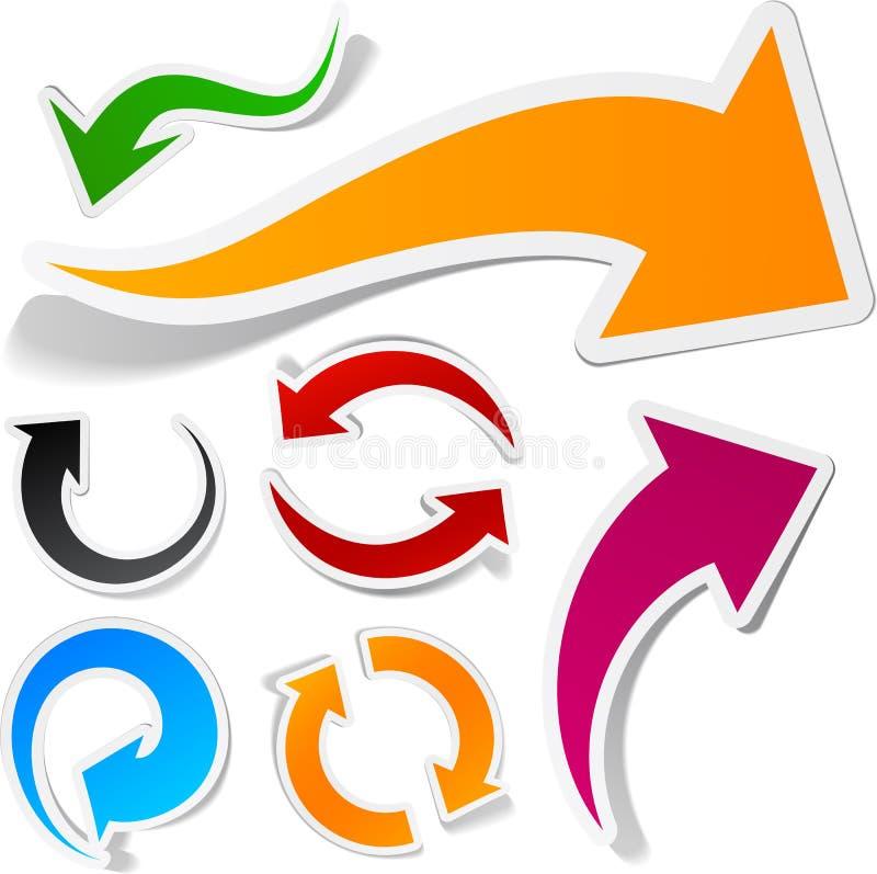 箭头彩色组贴纸 向量例证