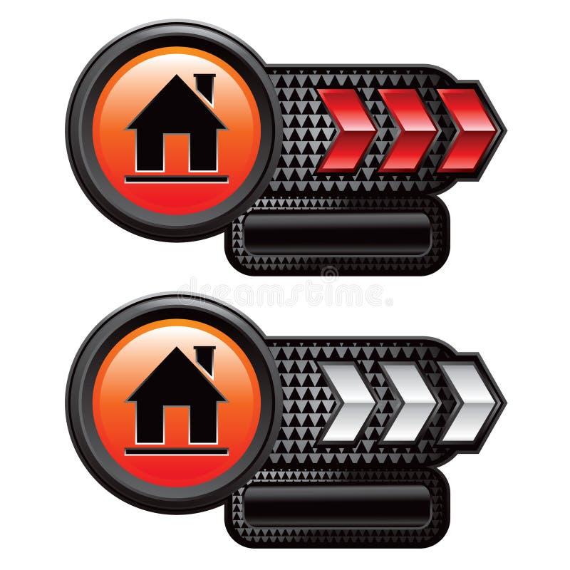 箭头房子标识牌红色剪影白色 向量例证