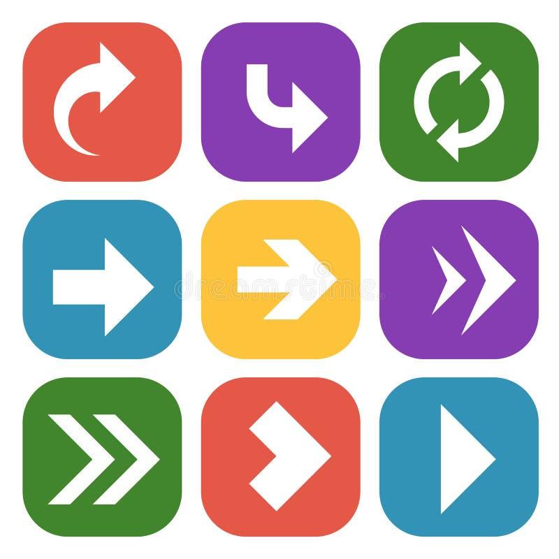箭头按 下来五颜六色的纸路标与网站航海和流动应用程序的被环绕的圈子箭头 库存例证