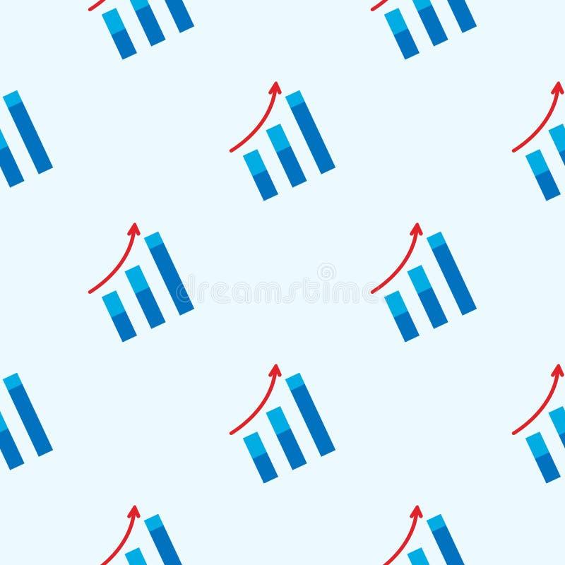 箭头提高标志无缝的样式 增长的图表 库存例证