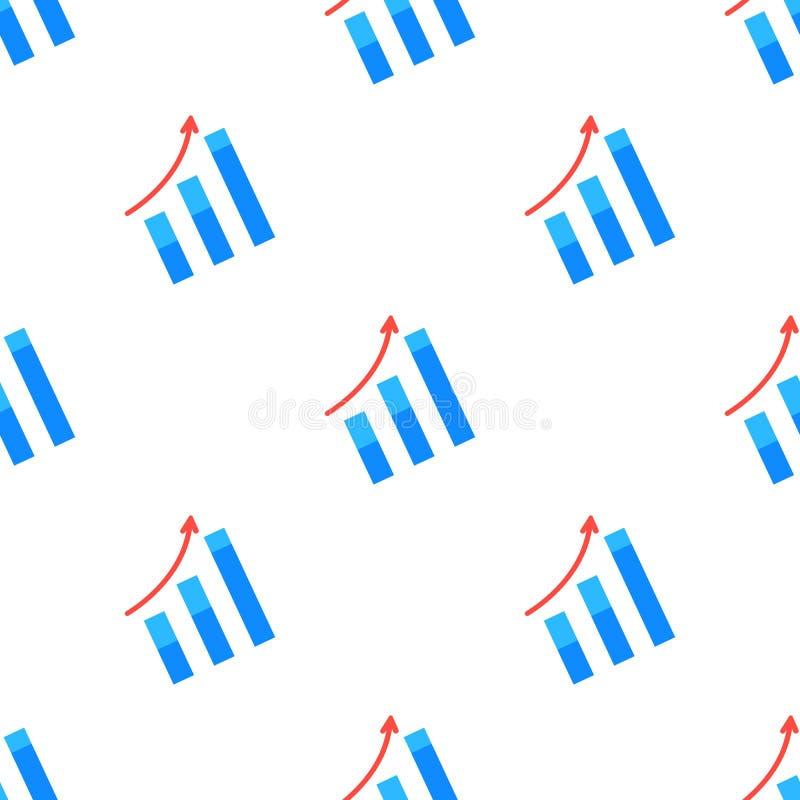 箭头提高标志无缝的样式 增长的图表 皇族释放例证