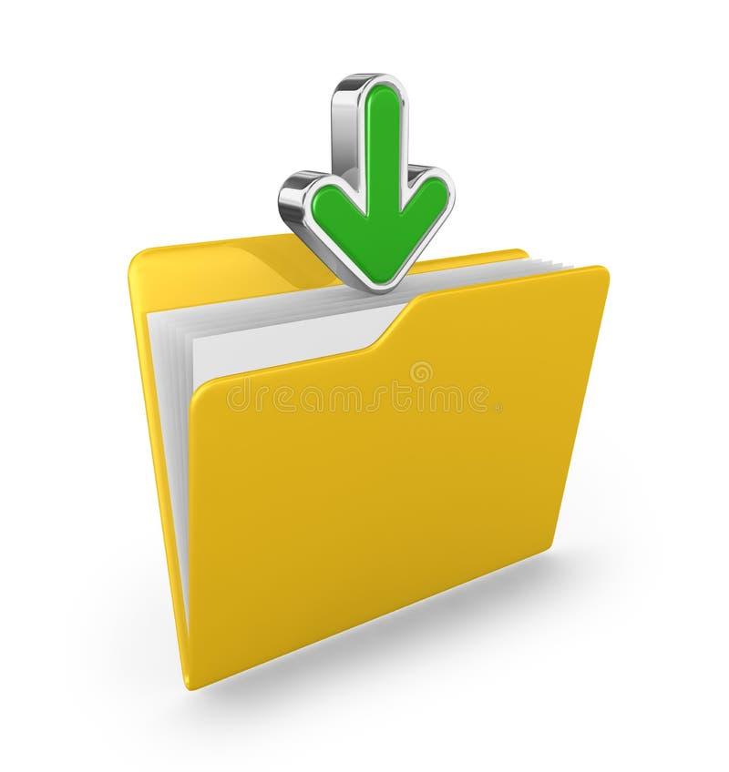 箭头文件夹绿色黄色 免版税库存照片