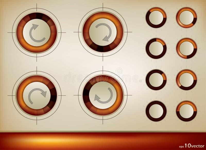 箭头旋转按钮的图标 库存例证