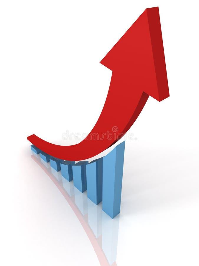 箭头棒财务图形上升的成功 向量例证