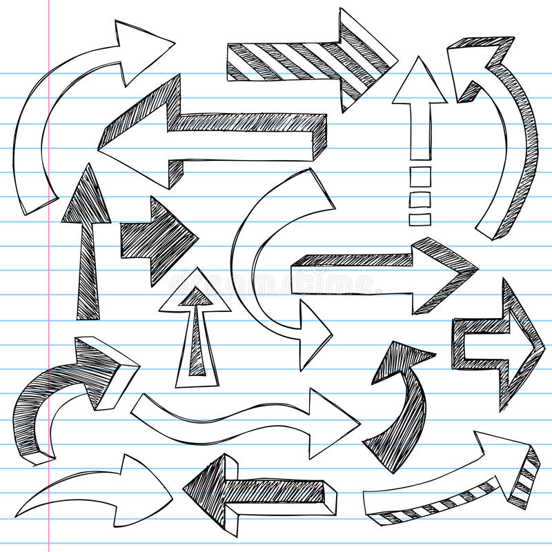 箭头概略乱画的笔记本 皇族释放例证