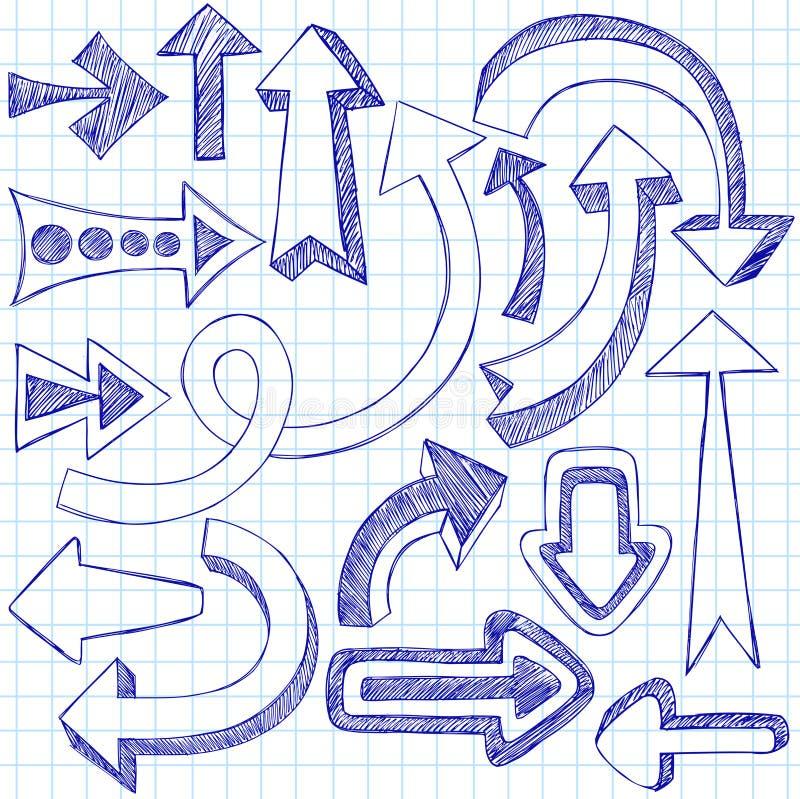 箭头概略乱画的笔记本 库存例证