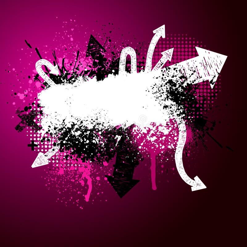 箭头油漆粉红色泼溅物 库存例证