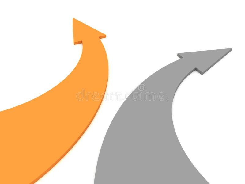 箭头灰色橙色白色 库存例证